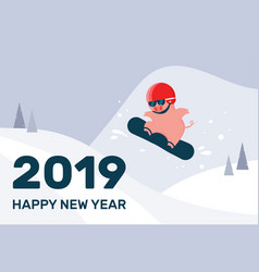 happy chinese new year cartoon pig on snowboard vector image