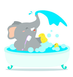 Happy elephant cartoon take a bath in tub vector