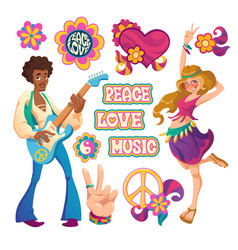 hippie people signs peace love and music vector image