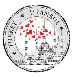 I Love Istanbul Design stamp with heart The Blue vector image