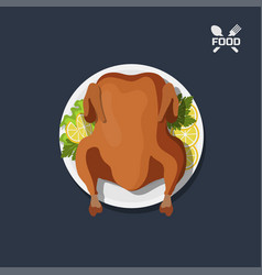 Icon of roasted chicken on plate vector