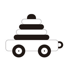 Isolated stack toy with wheels vector