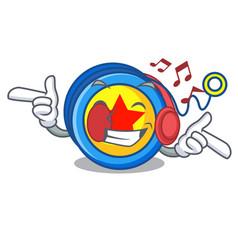 Listening music yoyo mascot cartoon style vector
