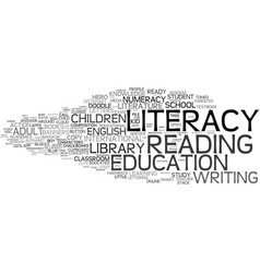 Literacy word cloud concept vector