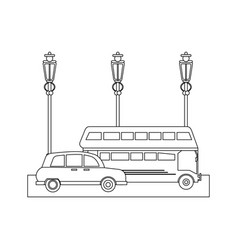 london taxi and bus on street in black and white vector image