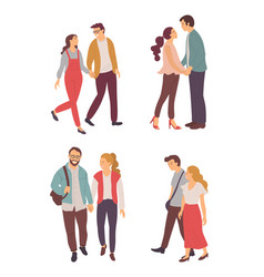 lovers walking together couple feelings vector image