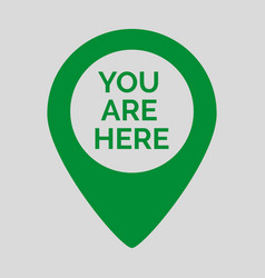 Marker location icon with you are here vector