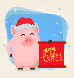 Merry christmas greeting card with cartoon pig vector