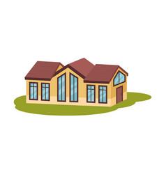 Modern long orange house in meadow vector