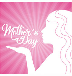 Mothers day cute silhouette woman kiss vector