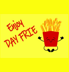 national french fry day bucket with french fries vector image