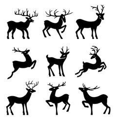 Nine black deer set silhouettes vector