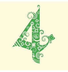 Number four in green vector image