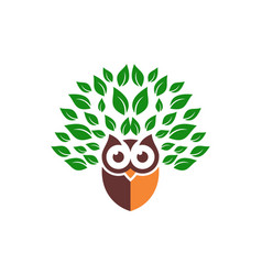 owl leaves green logo icon vector image