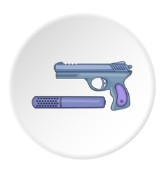 Pistol with a silencer icon cartoon style vector