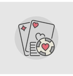 Playing cards and casino chips icon vector image