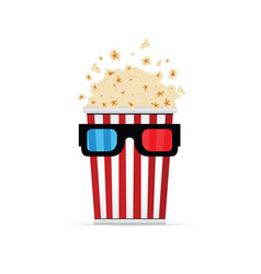Popcorn with 3d movie glasses vector