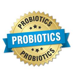 Probiotics 3d gold badge with blue ribbon vector