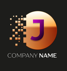 Purple letter j logo symbol in golden pixel circle vector