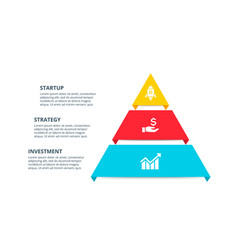 pyramid infographic with 3 options vector image