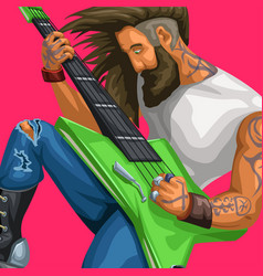 Rock guitarist playing on red vector