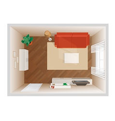 room with furniture top view vector image