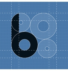 Round engineering font Symbol B vector image