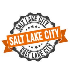 salt lake city round ribbon seal vector image