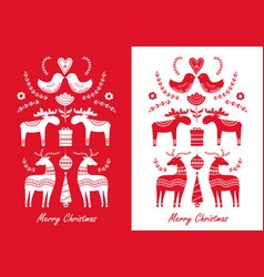 set christmas hand drawn greeting cards in vector image