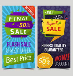 set of isolated signs or tags for sail or retail vector image