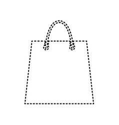 shopping bag black dashed vector image