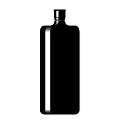 silhouette of a bottle with an alcoholic drink vector image