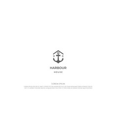 simple anchor with house for port harbor logo vector image