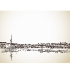 Skyline Sketch of Stockholm vector image
