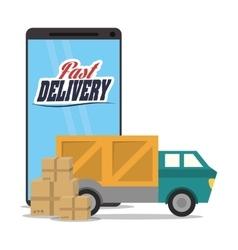 smartphone truck box delivery icon graphic vector image