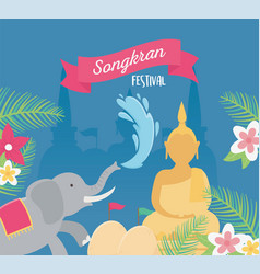 Songkran festival elephant buddha water flowers vector