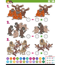 Subtraction educational task with cartoon apes vector