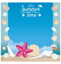 Summer Beach with Sea Shell and Starfish Frame vector image