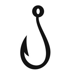 summer fishing hook icon simple style vector image