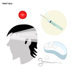 Symptoms of Head Injury with Medical Treatment vector