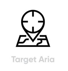 Target area icon editable line vector
