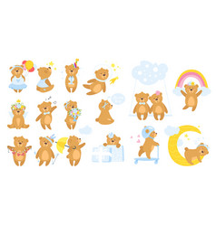 teddy bear cartoon set vector image