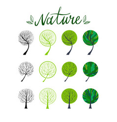 Tree hand drawn eco set vector