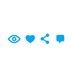 View like share comment icons on white vector