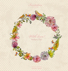 Vintage wreath with cute birds and flowers vector