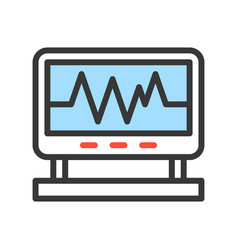 Vital sign on screen monitor filled outline icon vector