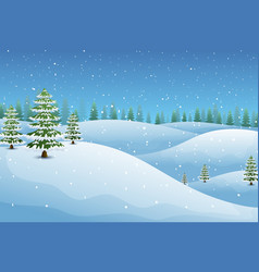 winter landscape with fir trees and snowy hills vector image