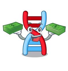 With money bag dna molecule mascot cartoon vector
