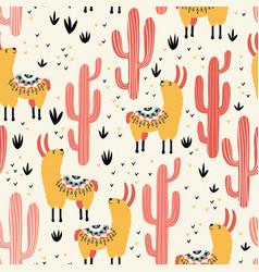 yellow llamas red cacti vector image