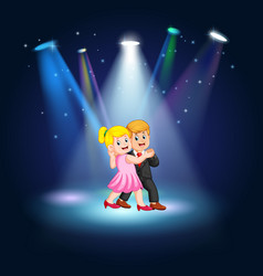 young pretty woman and man in black suit dance vector image